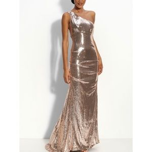 Nicole Miller Champagne Sequin Gown